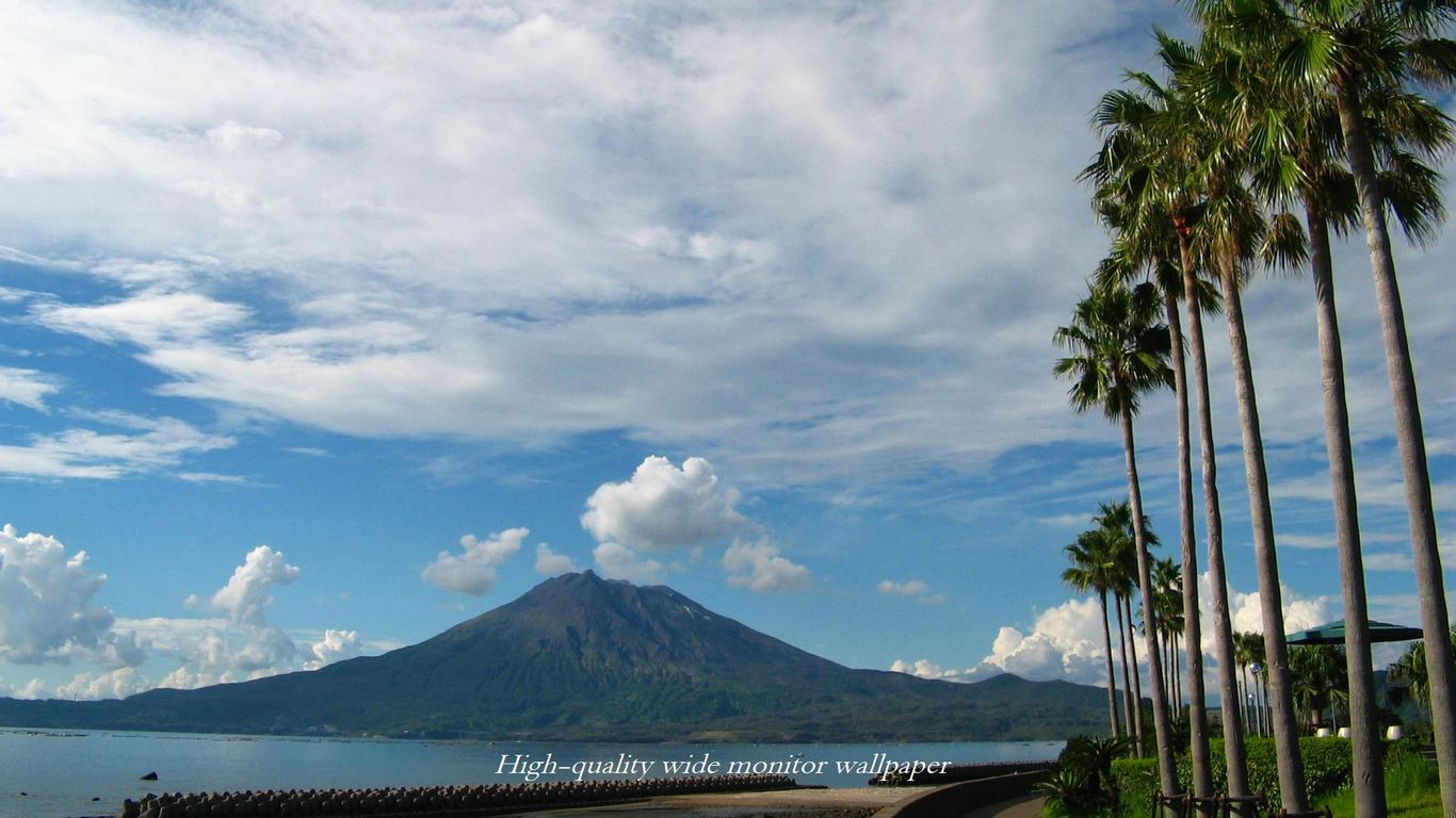 桜島をモチーフにしましたワイドモニター 1366 768 高画質壁紙 アスペクト比 16 9 桜島の噴火 火山雷 爆発的噴火 桜島の自然風景