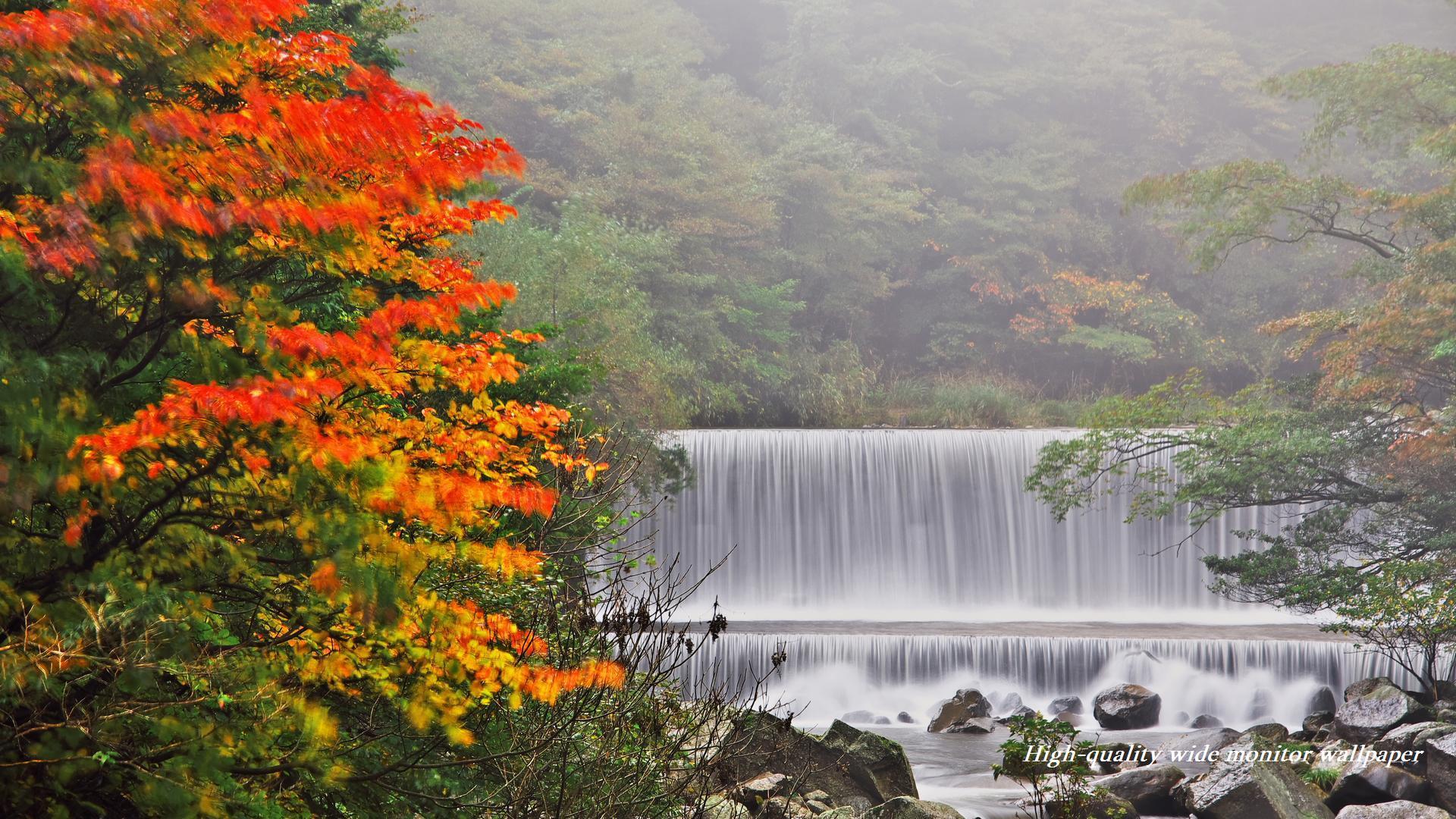 霧島川の紅葉をモチーフにしましたワイドモニター専門高画質壁紙 アスペクト比16 9 19 1080 秋の風景 自然風景 花 景色