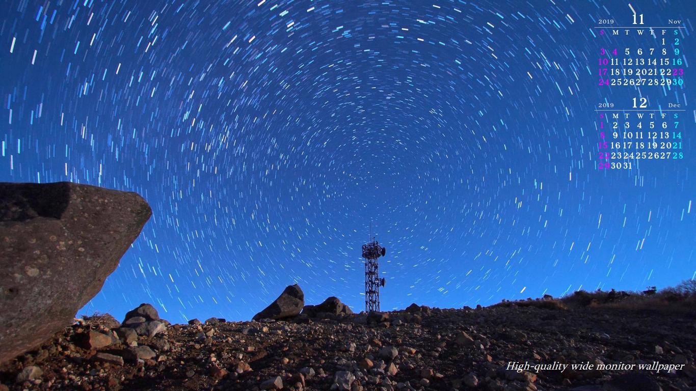 星の周回運動をモチーフにしました18年11月12月のカレンダー付きワイドモニター高画質壁紙 1366 768 アスペクト比16 9霧島連山 自然風景 星景写真 花 山野草